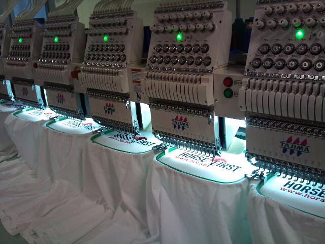 State of the art embroidery machines at work.