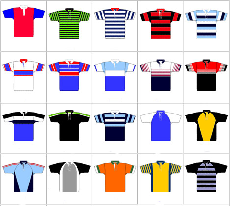 Traditional rugby shirts - examples